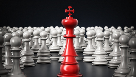 Red chess king standing among white pawns. 3D illustration. Stock Photo