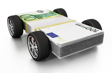 Race tyres connected to 100 Euro bills. 3D illustration. Stock Photo