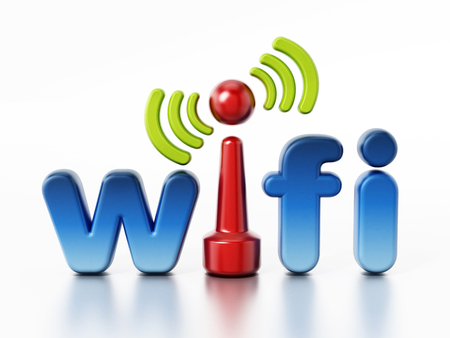 Wifi icon and wireless connection symbol. 3D illustration.
