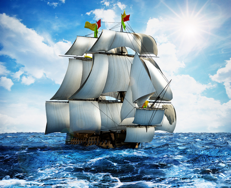 Vintage sailing ship at the sea under clear sky. 3D illustration.