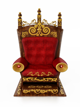 Luxurious throne isolated on white background. 3D illustration. Banque d'images