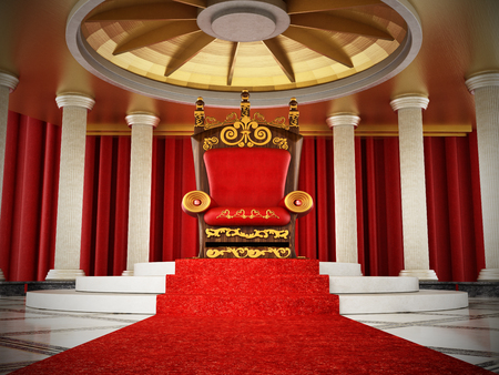 Red carpet leading to the luxurious throne. 3D illustration. Stock Photo