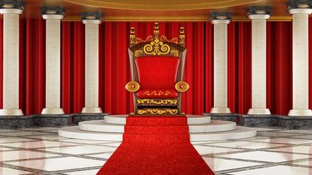 豪華な王座につながるレッドカーペット。3D イラストレーション。 写真素材 - 96042919