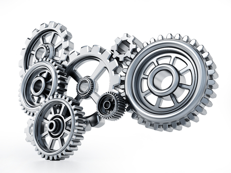 Gears in motion representing teamwork and cooperation. 3D illustration. Stok Fotoğraf