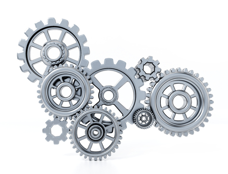 Gears in motion representing teamwork and cooperation. 3D illustration. Stock Photo