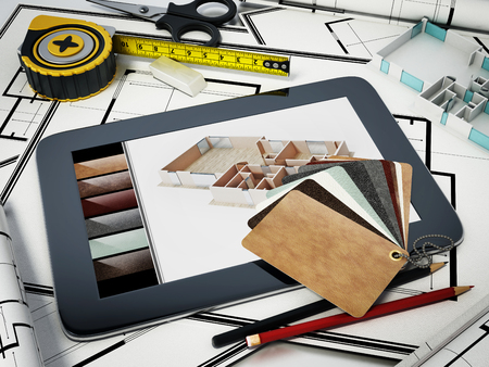 Home decorating tools standing on house bluprints. 3D illustration