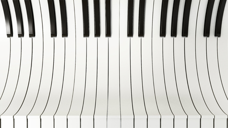 Black and white abstract piano keys background. 3D illustration.