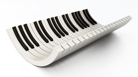 Curved piano keys isolated on white background. 3D illustration.