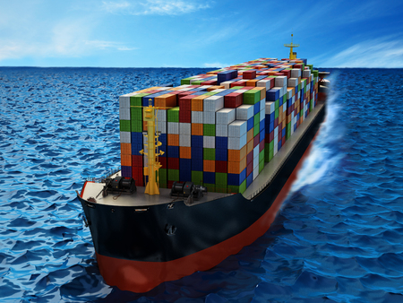 Cargo ship loaded with multi colored containers. 3D illustration. Stock Photo