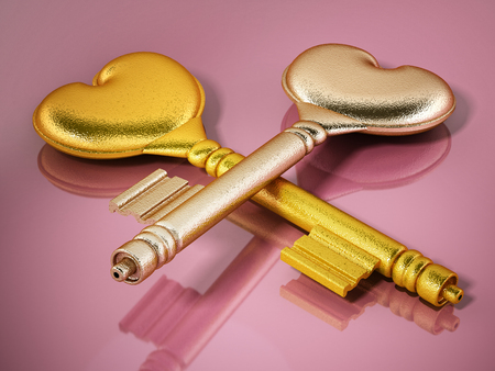 Gold keys with heart shapes on pink background. 3D illustration. Stock Photo