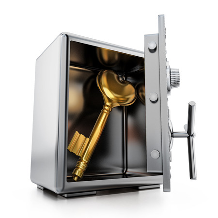 Gold key with heart shape inside steel safe. 3D illustration.