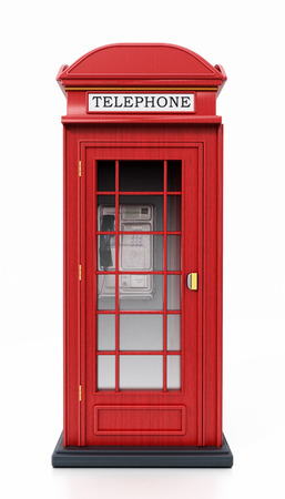 Red British phone booth isolated on white background. 3D illustration. Stock Photo