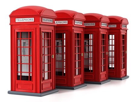 Red British phone booths isolated on white background. 3D illustration. Stock Photo