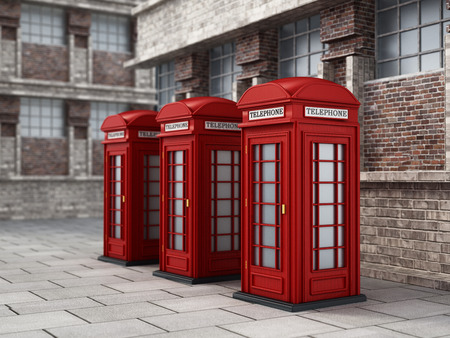 Red British phone booths in the street. 3D illustration. Stock Photo