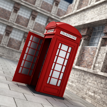 Red British phone booth in the street. 3D illustration. Stock Photo