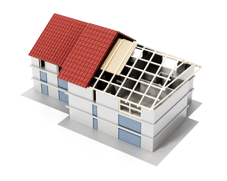 3D illustration showing layers of a building roof. 3D illustration.