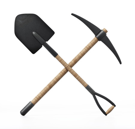 Shovel and pick axe isolated on white background. 3D illustration. Archivio Fotografico