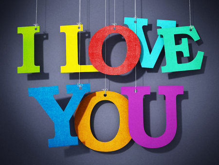 Paper multi-colored letters forming I love you text. 3D illustration. Stock Photo
