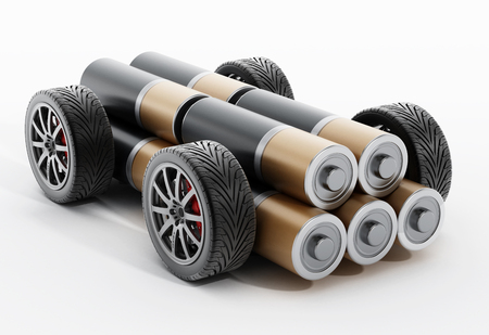 Wheels and tires connected to AA battery. 3D illustration. Stock Photo