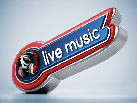Live music banner with vintage microphone. 3D illustration.