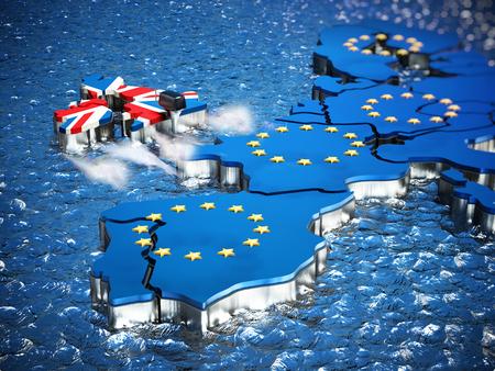 Mappa della Gran Bretagna con motore della barca in partenza dall'Unione Europea. Illustrazione 3D