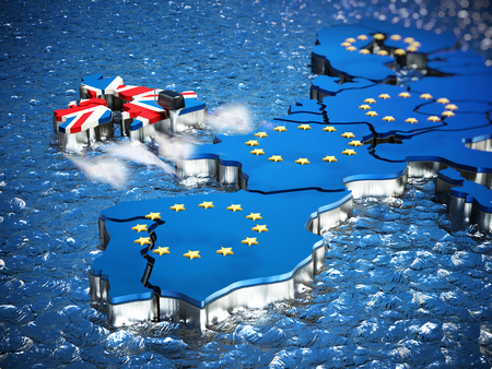 Britain map with boat engine leaving European Union. 3D illustration.