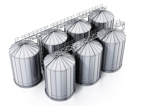 Corrugated steel grain silos isolated on white background. 3D illustration. Stock Photo
