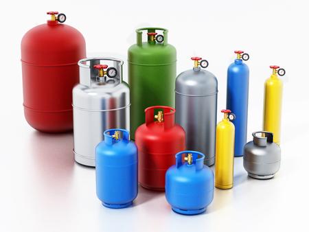 Bouteilles de gaz multicolores isolés sur fond blanc. Illustration 3D. Banque d'images - 97905608