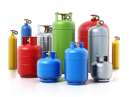 Multi-colored gas cylinders isolated on white background. 3D illustration.