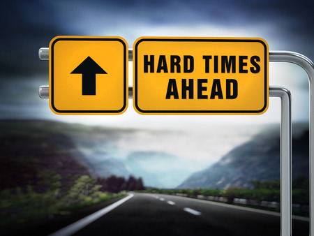Hard times ahead signboard under dramatic sky. 3D illustration. Standard-Bild