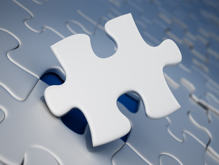 Jigsaw puzzle piece standing next to the missing part hole. 3D illustration. Stock Photo