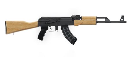 Automatic rifle isolated on white background. 3D illustration. Stock Photo
