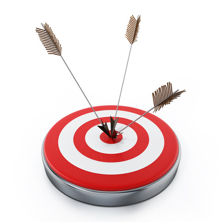 Arrows hit right on target bullseye. 3D illustration. Stock Photo
