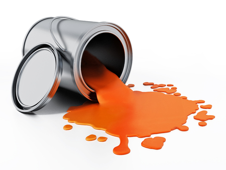 Open metal paint can with spilled orange paint.. 3D illustration.