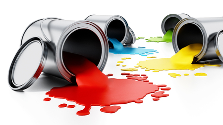 Open metal paint cans with spilled paints. 3D illustration.