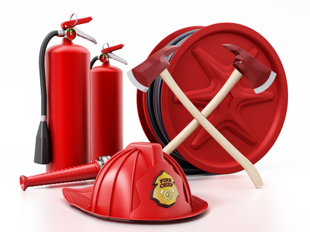 Fireman hat, hose, extinguishers isolated on white background 3D illustration Banque d'images
