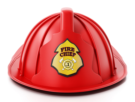 Fireman hat isolated on white background. 3D illustration.