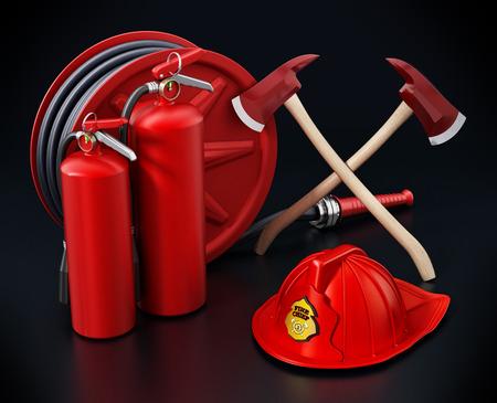 Fireman hat, hose, extinguishers isolated on black background 3D illustration