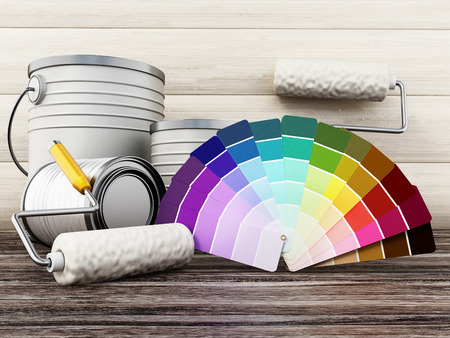Paint cans, roller and paint cartela standing on old wooden floor. 3D illustration. Stock Photo