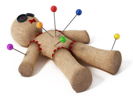 Voodoo doll with needles isolated on white background. Banque d'images