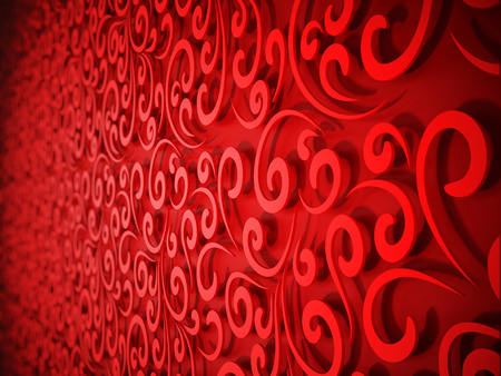 Abstract horizontal red floral background. 3D illustration Stock Photo