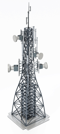 Steel telecommunications tower with satellite dishes. 3D illustration.