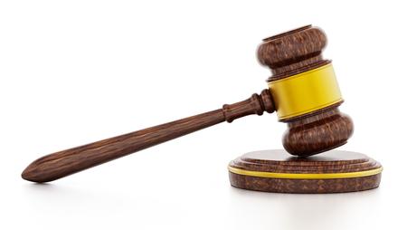 Judge gavel isolated on white background. 3D illustration.