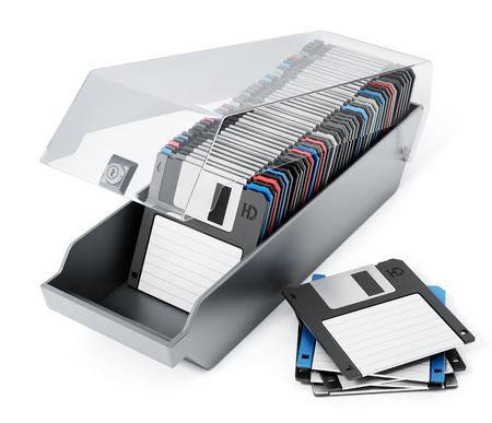 Vintage 3.5 inch disquettes aranged inside disquette box. 3D illustration.
