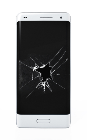 Smartphone with cracked screen isolated on white background. 3D illustration. Stock Photo