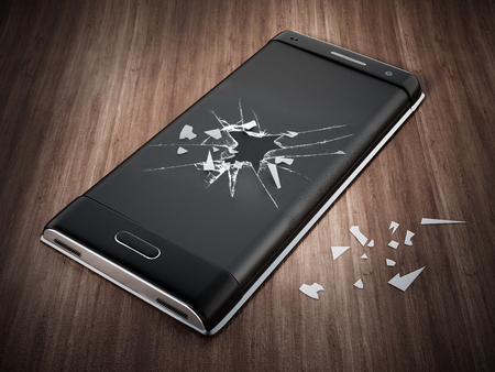 Smartphone with cracked screen standing on parquet floor. 3D illustration.