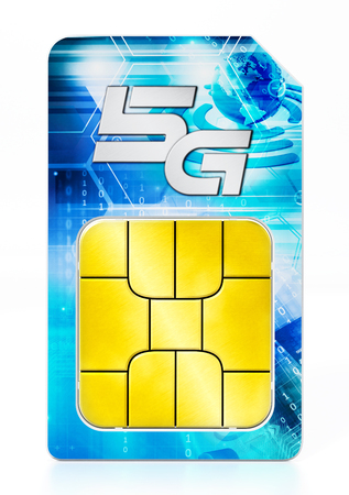 5G SIM card isolated on white background. 3D illustration.