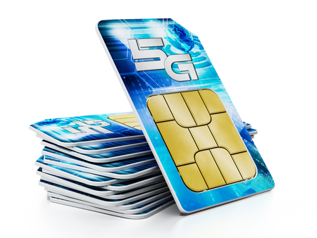5G SIM cards isolated on white background. 3D illustration.