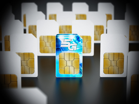 5G SIM card stands out among standard sim cards. 3D illustration. Stock Photo