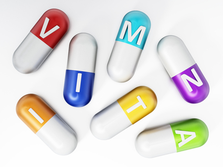 Vitamin pills isolated on white background. 3D illustration.